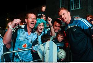 23 September 2013; Ray O'Shea, left, form Crumlin, and Tony Brouchan, from Cabra, Dublin with Dublin's Ciaran Kilkenny during the homecoming celebrations of the All-Ireland Senior Football Champions. Merrion Square, Dublin. Picture credit: Paul Mohan / SPORTSFILE