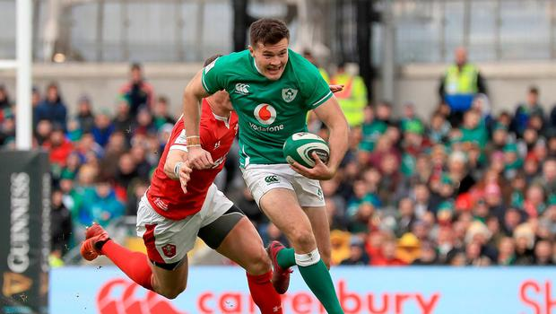 Ireland's Jacob Stockdale in action. Photo: Donall Farmer/PA Wire