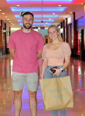 Warren Egan from Firhouse pictured with his sister Zara at Dundrum Shopping center, after the doors reopened to shoppers. Picture Credit: Frank McGrath