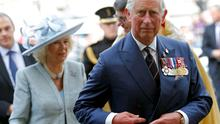 Britain's Prince Charles and his wife Camilla, Duchess of Cornwall arrive at Westminster Abbey