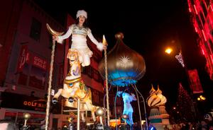 Performers during the Procession of Light ceremony in Dublin's City Centre as part of the NYF Dublin festival.