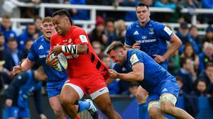 Gordon D'Arcy says Leinster need to have a plan for Billy Vunipola – pictured, being tackled by Jack Conan in last year's Champions Cup final – but their tactics cannot revolve around the Saracens No 8. Photo: Sportsfile