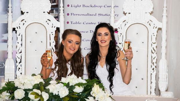 Robyn Peoples and Sharni Edwards have said they are 'living the dream' after getting married  Photo credit: Liam McBurney/PA Wire