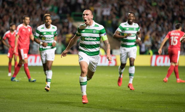 Scott Brown celebrates his goal Photo by Steve Welsh/Getty Images