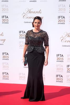 24/5/15 Lisa Cannon pictured on the red carpet at the IFTA Awards at the Mansion House in Dublin. Picture: Arthur Carron