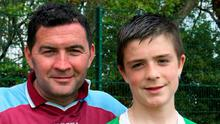 Fourteen-year-old Jack Grealish pictured alongside his father Kevin after he made his debut for Ireland U15s against Northern Ireland in Kilternan in 2009
