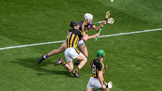 Rory O'Connor of Wexford is fouled by Enda Morrissey of Kilkenny, which resulted in a Wexford penalty, during the Leinster SHC final at Croke Park in Dublin last June. Photo: Daire Brennan/Sportsfile