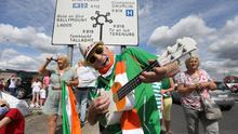 Irish fans pay tribute to Jack Charlton at the Walkinstown Roundabout in Dublin. Picture credit: Mark Condren.