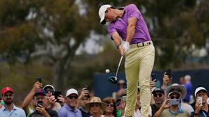 Rory McIlroy plays his shot from the second tee during the final round of the US Open at Torrey Pines Golf Course in San Diego