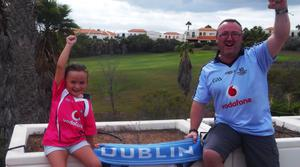 Derek Wheeler and daughter Samantha are cheering for the Dubs in Tenerife.