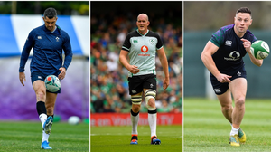 Rob Kearney (left) was omitted from Andy Farrell's first Ireland squad, but Devin Toner (centre) and John Cooney were included.