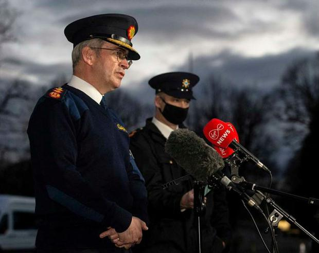 Garda Commissioner Drew Harris speaking to the media after an anti-lockdown protest in Dublin on Saturday. Photo: Damian Eagers/PA Wire