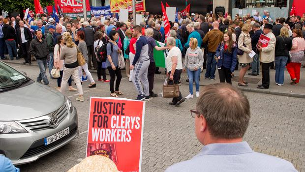 The protest which took place outside Clerys from midday today.