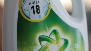An Ariel liquid detergent bottle with an '18' on it sits in Berlin Germany