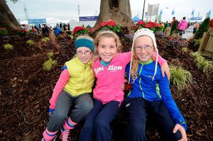 l-r; Rebecca Ogilvie, 10, Ellie Keogh, 10, and Niamh Ogilivie, 12, from Clonroche, Wexford. National Ploughing Championships 2014. Ratheniska, Stradbally, Co. Laois. Picture: Caroline Quinn