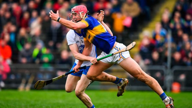 Steven O'Brien of Tipperary in action against Tadhg de Burca of Waterford during last month's Allianz League clash - O'Brien has been in impressive form so far this season. Photo by Stephen McCarthy/Sportsfile