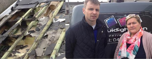 The damage to the roof and (r) Cllr. Ruairi O'Murchu and Andrea Connolly from Cuidigh Linn