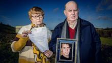 Broken hearted: Breege and Stephen Quinn with Conor Murphy's letter and a photo of their murdered son Paul. Photo: Kevin Scott/Belfast Telegraph