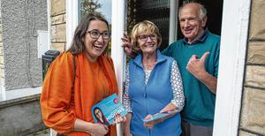 Canvassing: Fine Gael by-election candidate Emer Higgins talking to voters on their doorsteps ahead of the Dublin Mid-West by-election