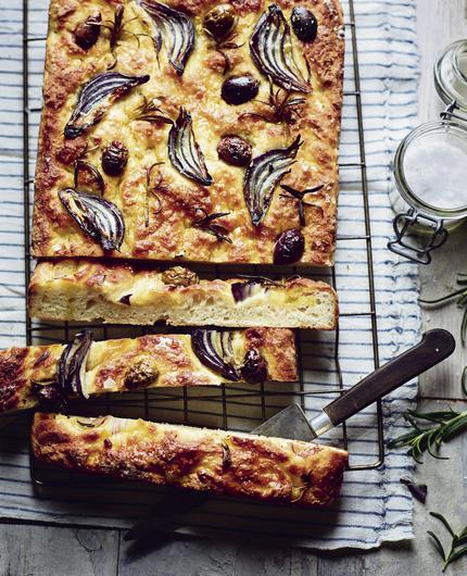 Easy soda focaccia with red onion, olive and rosemary