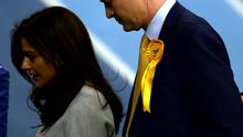 Nick Clegg with his wife Miriam after quitting as party leader