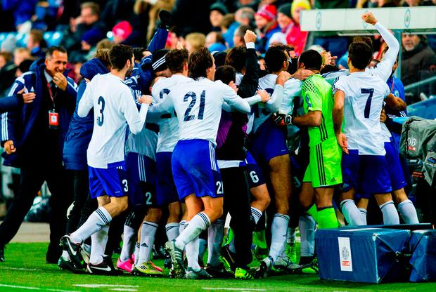 San Marino players cheer after scoring 1- 1 by Mattia Stefanelli during the WC 2018 football qualification match between Norway and San Marino in Oslo, Norway on October 11, 2016. / AFP PHOTO / TT NEWS AGENCY / Grott, Vegard Wivestad / Norway OUTGROTT, VEGARD WIVESTAD/AFP/Getty Images