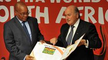 Mandatory Credit: Photo by REX Shutterstock (4826212b)  President Jacob Zuma and FIFA President Sepp Blatter during a media briefing at Soccer City  Media Briefing with President Jacob Zuma and FIFA President Sepp Blatter, Soweto, South Africa - 13 Dec 2010  This event is to reflect on the legacy of the 2010 FIFA World Cup