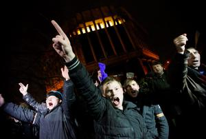 People shout slogans during a pro-Russian rally in Simferopol, Crimea