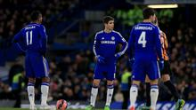 Chelsea's Didier Drogba (left) and Oscar (centre) wait to restart the match after Bradford City's Andy Halliday scores his sides third goal of the game during the FA Cup Fourth Round match at Stamford Bridge, London. PRESS ASSOCIATION