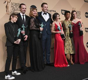 Actors Abigail Savage, James McMenamin, Emily Althaus, Alan Aisenberg, Kimiko Glenn, Samira Wiley, and Julie Lake, co-winners of the Outstanding Performance by an Ensemble in a Comedy Series award for 'Orange Is the New Black,' pose in the press room during the 23rd Annual Screen Actors Guild Awards at The Shrine Expo Hall on January 29, 2017 in Los Angeles, California. (Photo by Alberto E. Rodriguez/Getty Images)