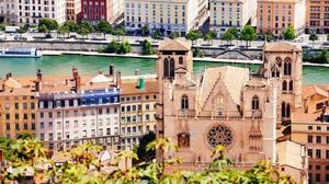 Saint Jean Cathedral and the Saone river in Lyon