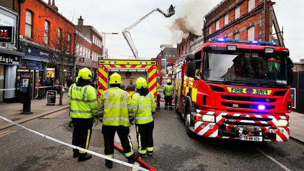 The fire on Main Street in Bray Co Wicklow. Pic Steve Humphreys