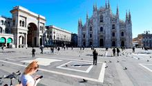 An almost empty Piazza del Duomo in the centre of Milan. Photo: Miguel Medina/AFP via Getty Images