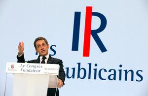 Nicolas Sarkozy, former French president and head of the newly-named The Republicans political party, delivers a speech during a rally in Paris, France, yesterday (REUTERS/Philippe Wojazer)
