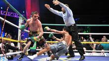 LAST BIG EFFORT: Bernard Dunne floored Cordoba three times in the 11th round to finally claim the world title in front of a home crowd. Photo: SPORTSFILE