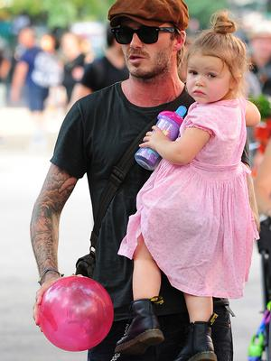 David Beckham and Harper Beckham are seen at Vesuvio Playground in Soho on September 10, 2013 in New York City. (Photo by Alo Ceballos/FilmMagic)