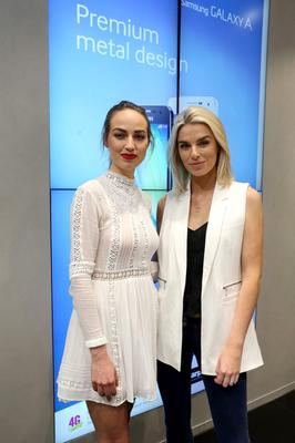 Daniella Moyles and Pippa OConnor at the launch of Samsung Galaxy S6 and S6 Edge in Dundrum