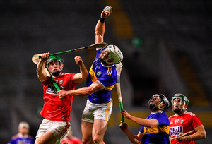 Padraic Maher of Tipperary wins a high ball over Seamus Harnedy of Cork during an Allianz Hurling League game last February. Photo by Eóin Noonan/Sportsfile