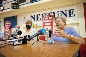 Home employee Majella Lynch, relatives of residents Caroline Levin and Mary Lynch pictured at a meeting at Neptune Stadium, Cork following the announcement that the local respite home Mount Cara will close. Pic Daragh Mc Sweeney/Provisions