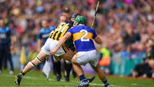Cathal Barrett of Tipperary is tackled by Richie Hogan of Kilkenny, resulting in a red card for Richie Hogan of Killkenny during the GAA Hurling All-Ireland Senior Championship Final match between Kilkenny and Tipperary at Croke Park in Dublin. Photo by Eóin Noonan/Sportsfile