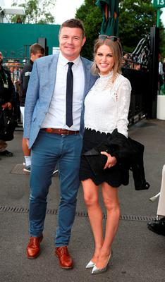 Brian O'Driscoll and Amy Huberman arrive on day six of the Wimbledon Championships at the All England Lawn Tennis and Croquet Club, Wimbledon. PRESS ASSOCIATION Photo.