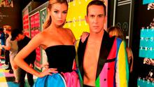 Model Stella Maxwell (L) and fashion designer Jeremy Scott attend the 2015 MTV Video Music Awards at Microsoft Theater on August 30, 2015 in Los Angeles, California.  (Photo by Christopher Polk/Getty Images)
