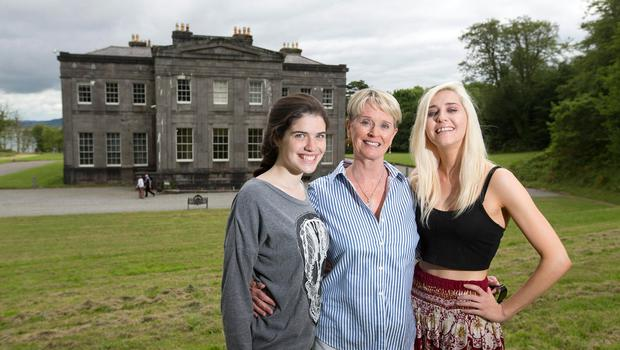 Hostess with the mostest: Constance Cassidy with her daughters Jane and Elanor at Lissadell House, Co Sligo. Photo: Mark Condren