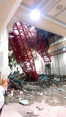Damage caused by a collapsed crane is seen in the Grand Mosque in the Muslim holy city of Mecca, Saudi Arabia September 11, 2015. At least 107 people were killed when the crane toppled over at Mecca's Grand Mosque on Friday, Saudi Arabia's Civil Defence authority said, less than two weeks before Islam's annual haj pilgrimage. REUTERS/Saudi News Agency/Handout via ReutersATTENTION EDITORS - THIS IMAGE HAS BEEN SUPPLIED BY A THIRD PARTY. IT IS DISTRIBUTED, EXACTLY AS RECEIVED BY REUTERS, AS A SERVICE TO CLIENTS. REUTERS IS UNABLE TO INDEPENDENTLY VERIFY THE AUTHENTICITY, CONTENT, LOCATION OR DATE OF THIS IMAGE. FOR EDITORIAL USE ONLY. NOT FOR SALE FOR MARKETING OR ADVERTISING CAMPAIGNS. NO SALES.