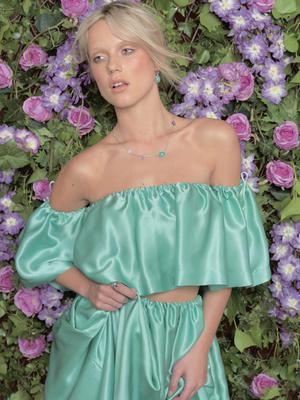 Top, €200; skirt, €300, both Caoimhe MacNeice, Atelier 27. Sterling-silver earrings with aqua chalcedony and pink amethyst, €95; sterling-silver necklace with aqua chalcedony and pink amethyst, €129; sterling-silver ring with aqua chalcedony and pink amethyst, €99, all Juvi
