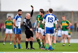 29 March 2015; Alan Fitzgerald, Kerry, receives a black card from referee Marty Duffy. Allianz Football League, Division 1, Round 6, Kerry v Monaghan. Austin Stack Park, Tralee, Co. Kerry. Picture credit: Stephen McCarthy / SPORTSFILE