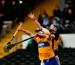 Liam Corry of Clare and Ger Aylward of Kilkenny. Photo by Ray McManus/Sportsfile