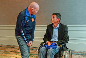 South Africa rugby legend Joost van der Westhuizen, right, chats with fellow MND campaigner and former Antrim football captain Anto Finnegan, whose 'Game ForAnto' takes place at Kingspan Stadium in Belfast on Saturday next. Picture credit: Piaras O Midheach / SPORTSFILE