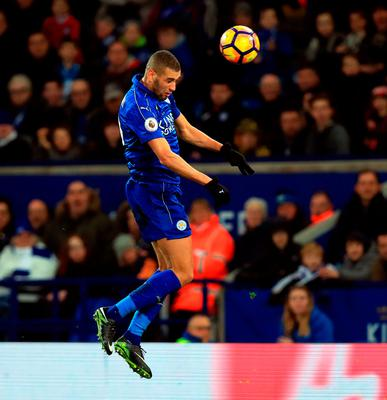Islam Slimani scores a vital header which ultimately earned Leicester City a valuable three points. Photo: Mike Egerton/PA Wire