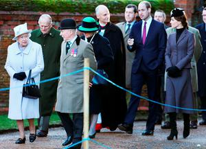 The Queen (front left) and the Duke of Edinburgh (second left) arrive with the Duke and Duchess of Cambridge for a service to mark the 100th anniversary of the end of the doomed First World War Gallipoli campaign at the Sandringham war memorial cross